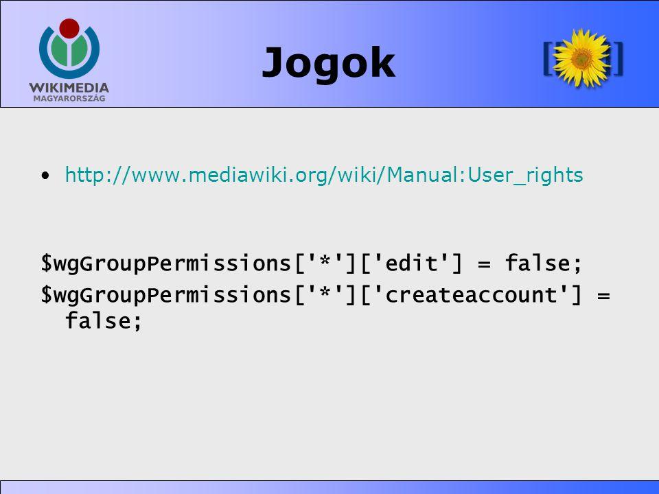 Jogok $wgGroupPermissions[ * ][ edit ] = false;